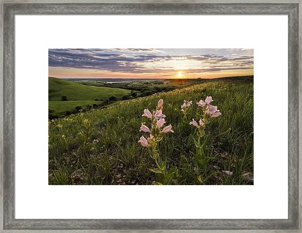 A Spring Sunset In The Flint Hills Framed Print