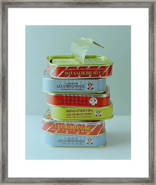 A Stack Of Cans Of Sardines Framed Print