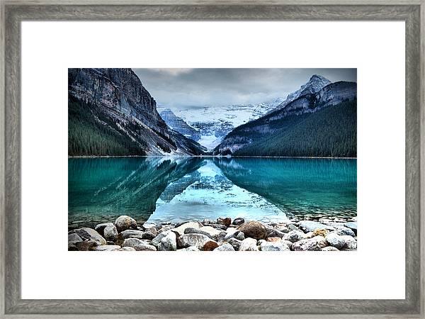 A Still Day At Lake Louise Framed Print