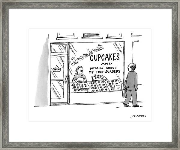A Storefront Reads: Grandma's Cupcakes Framed Print