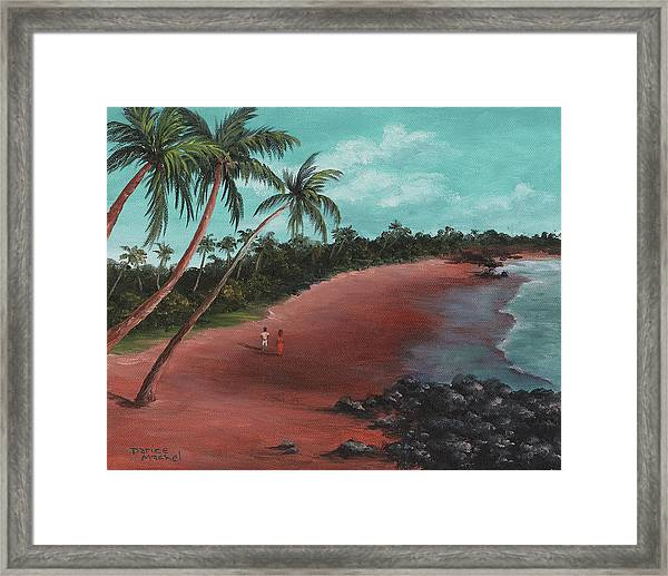 A Stroll On A Tropical Beach Framed Print