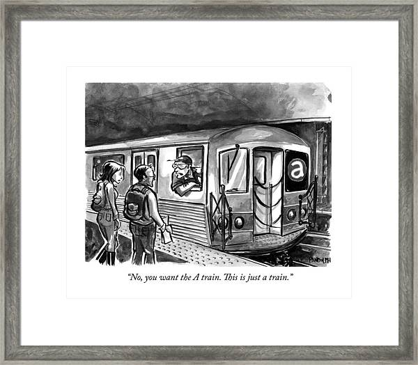 A Subway Conductor Drives A Train Marked Framed Print