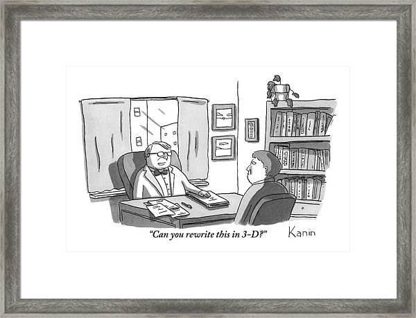 A Suited Man Behind A Desk Addresses A Writer Framed Print