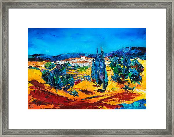 Framed Print featuring the painting A Sunny Day In Provence by Elise Palmigiani