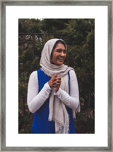 A Super Happy Muslim Girl In The Garden, Looking Away Framed Print by Muslim Girl
