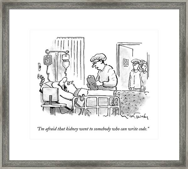 A Surgeon Talks To A Sick Patient In A Hospital Framed Print