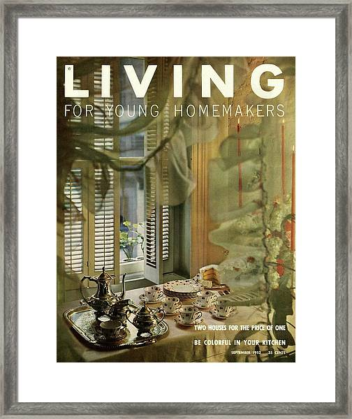 A Table Set By Community With China By Royal Framed Print