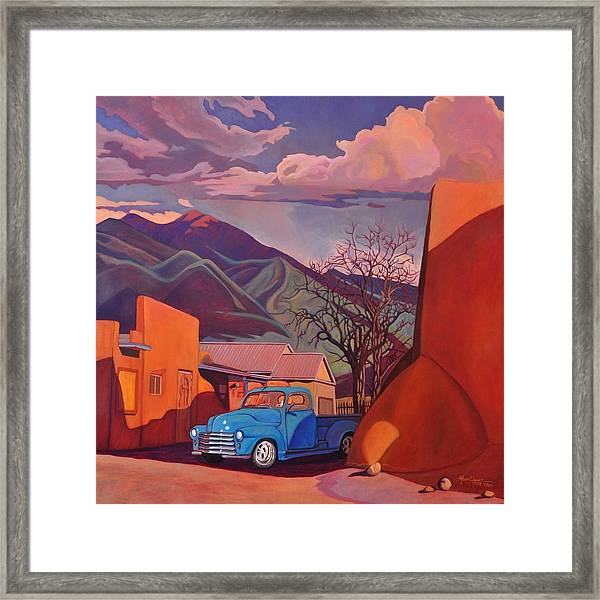 A Teal Truck In Taos Framed Print