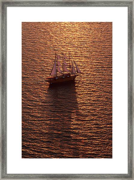 A Three-masted Sailing Ship With Full Framed Print by Mint Images - Art Wolfe