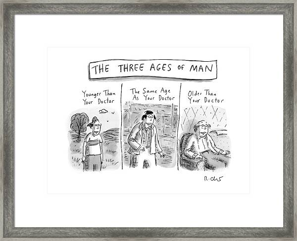 A Three Panel Images That Have Three Men: Framed Print