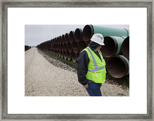 A Tour Of The Transcanada Houston Lateral Project Pipe Yard Framed Print by Bloomberg