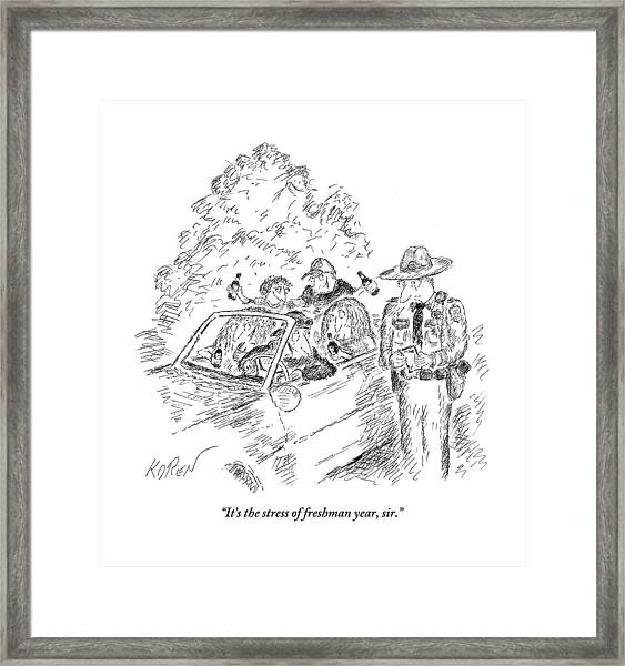 A Traffic Cop Stands Next To A Car Filled Framed Print