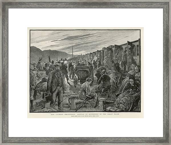 A Trainload Of Pilgrims Arrive Framed Print