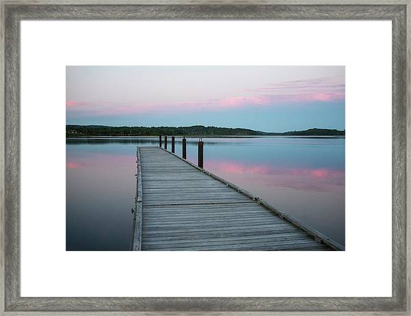 A Tranquil Evening On The Dock Framed Print