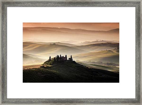 A Tuscan Country Landscape Framed Print by Sus Bogaerts