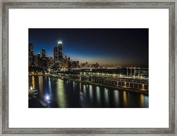 A Unique Look At The Chicago Skyline At Dusk Framed Print