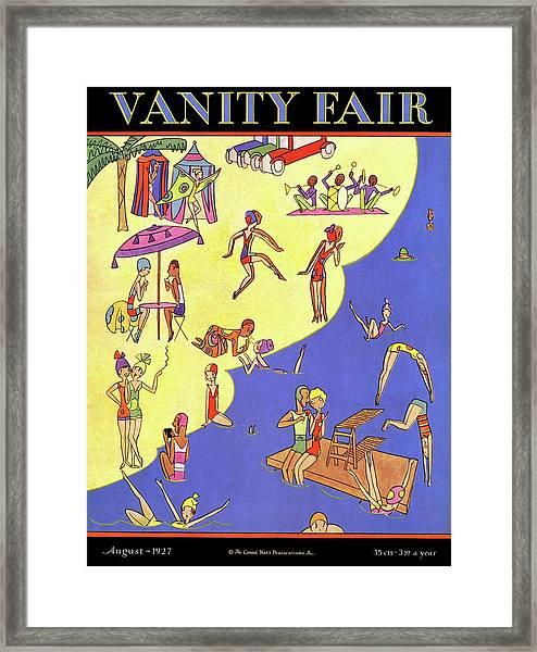 A Vanity Fair Cover Of Beach Goers Framed Print