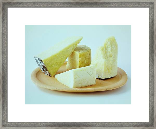 A Variety Of Cheese On A Plate Framed Print
