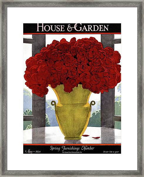 A Vase With Red Roses Framed Print