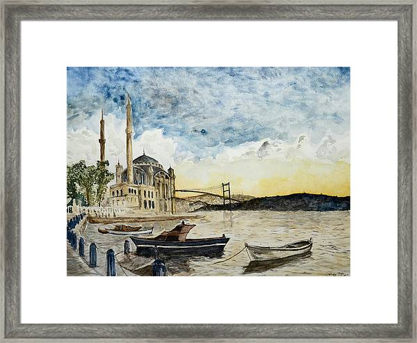A View Of The Bosphorous Bridge From The Docks Of The Ortakoy Mosque Framed Print