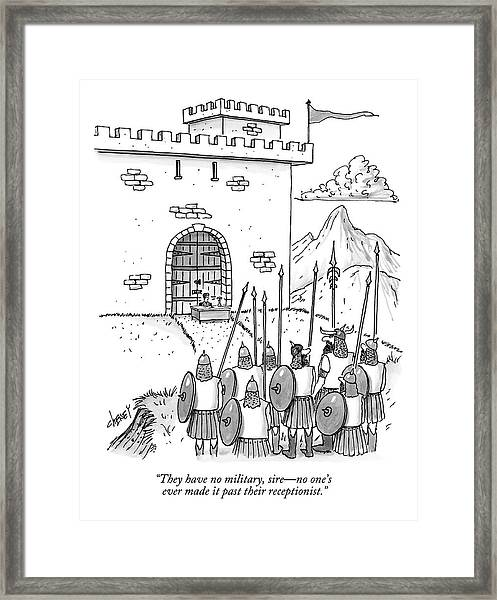 A Viking Army Stands Before A Castle Gate Where Framed Print
