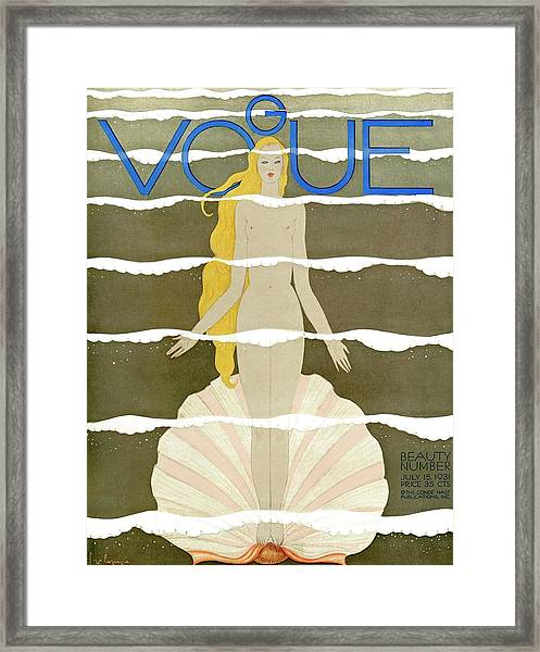 A Vintage Vogue Magazine Cover Of A Naked Woman Framed Print