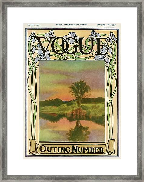 A Vintage Vogue Magazine Cover Of A River Framed Print