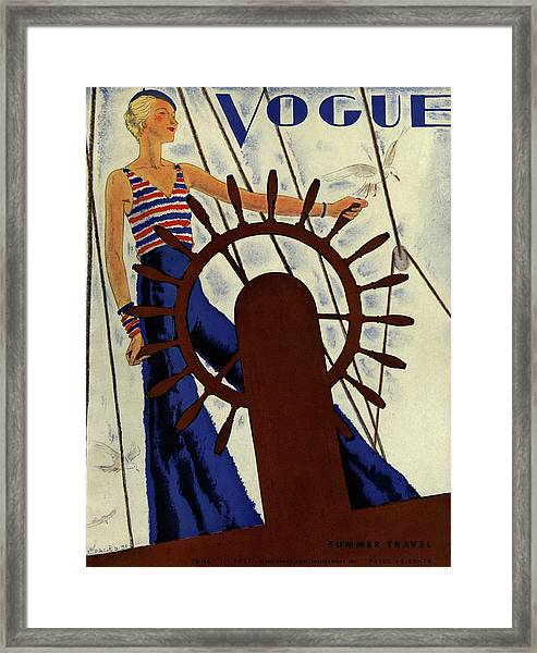 A Vintage Vogue Magazine Cover Of A Woman Framed Print by Jean Pages