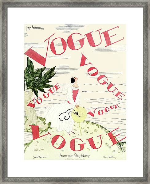 A Vintage Vogue Magazine Cover Of An Angel Framed Print
