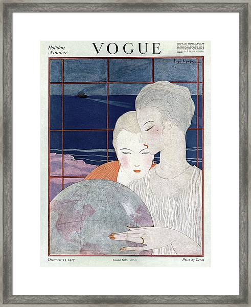 A Vintage Vogue Magazine Cover Of Two Women Framed Print