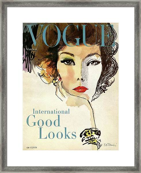 A Vogue Cover Illustration Of Nina De Voe Framed Print