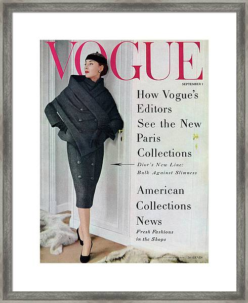 A Vogue Cover Of A Model Wearing A Dior Suit Framed Print