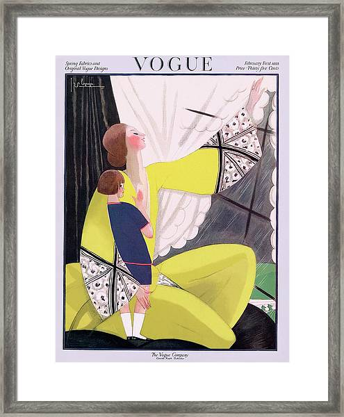 A Vogue Cover Of A Mother And Daughter Framed Print