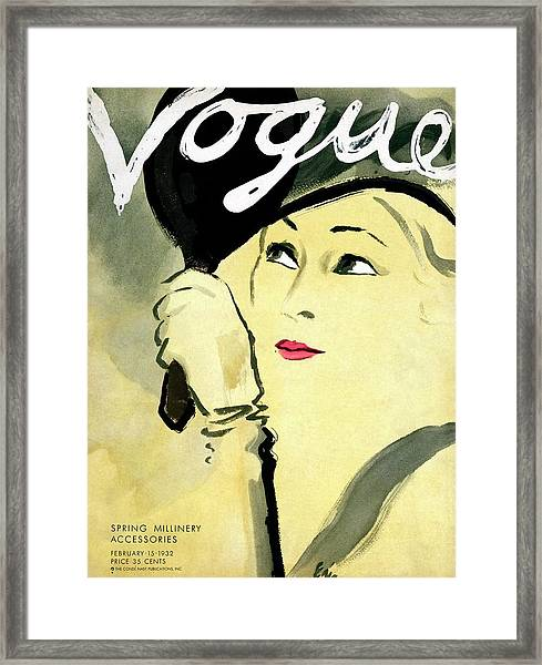 A Vogue Cover Of A Woman Holding A Mirror Framed Print