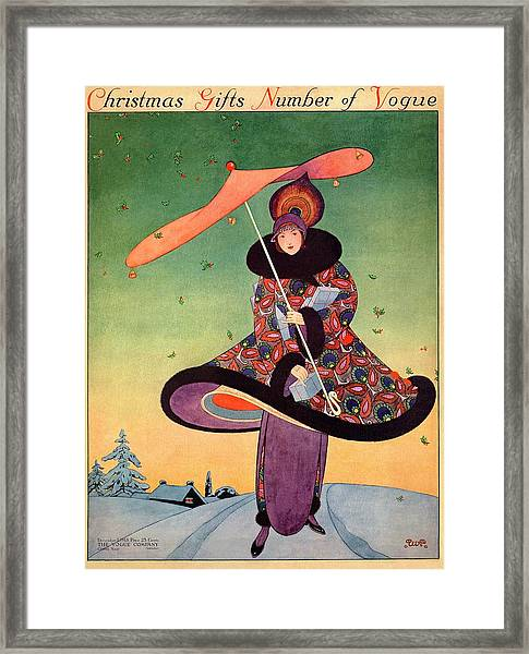 A Vogue Cover Of A Woman Holding An Umbrella Framed Print by George Wolfe Plank