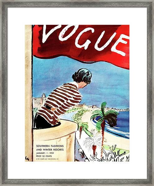 A Vogue Cover Of A Woman Leaning Over A Balcony Framed Print