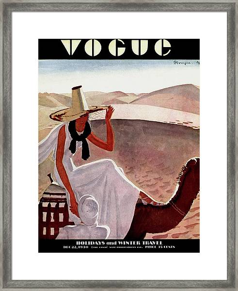 A Vogue Cover Of A Woman On A Camel Framed Print