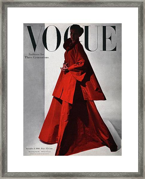 A Vogue Cover Of A Woman Wearing A Red Framed Print