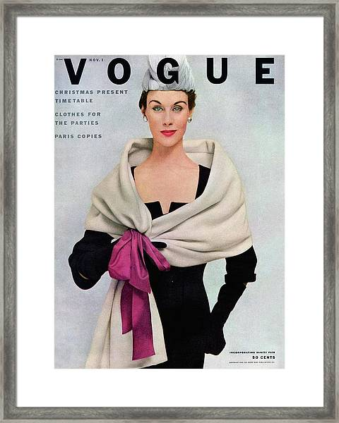 A Vogue Cover Of A Woman Wearing Balenciaga Framed Print