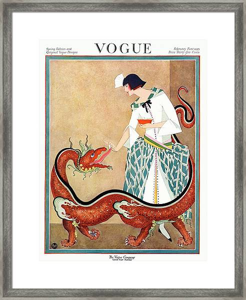 A Vogue Cover Of A Woman With A Chinese Dragon Framed Print