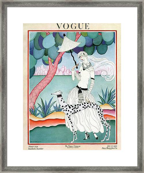 A Vogue Cover Of A Woman With A Dalmatian Framed Print
