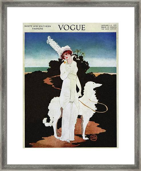A Vogue Cover Of A Woman With A Wolfhound Framed Print