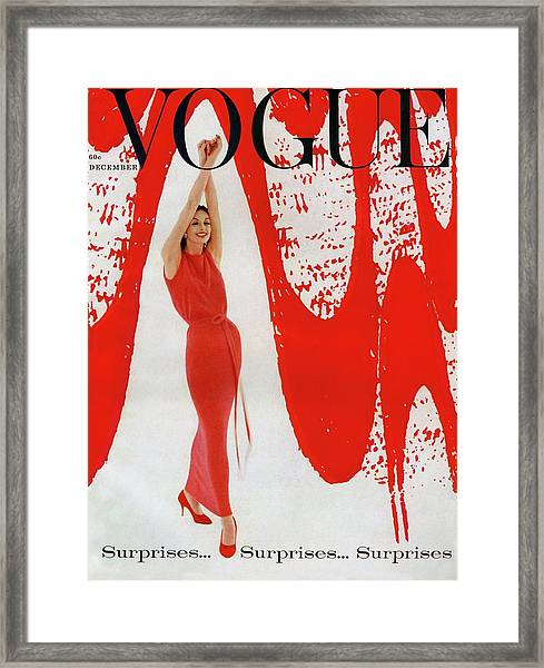 A Vogue Cover Of Anne St. Marie And Red Paint Framed Print