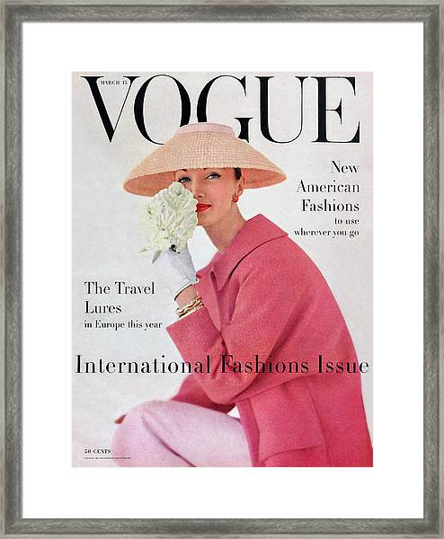 A Vogue Cover Of Evelyn Tripp Wearing Pink Framed Print