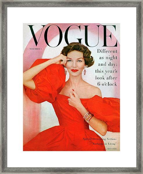 A Vogue Cover Of Joanna Mccormick Wearing Framed Print by Richard Rutledge
