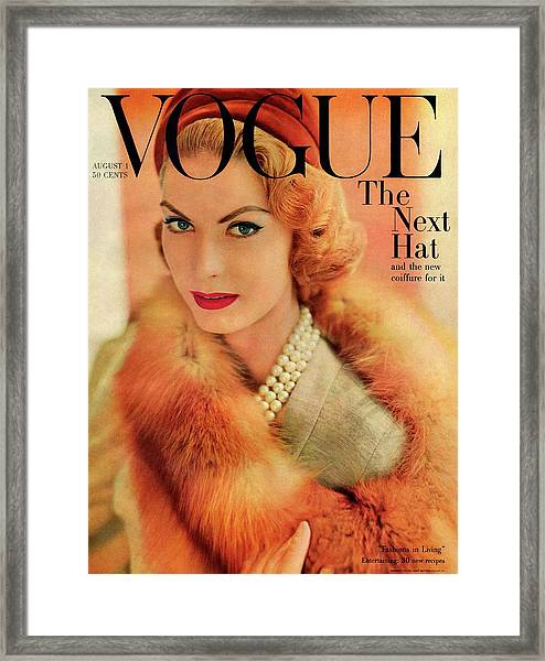 A Vogue Cover Of Mary Mclaughlin Wearing A Fox Framed Print