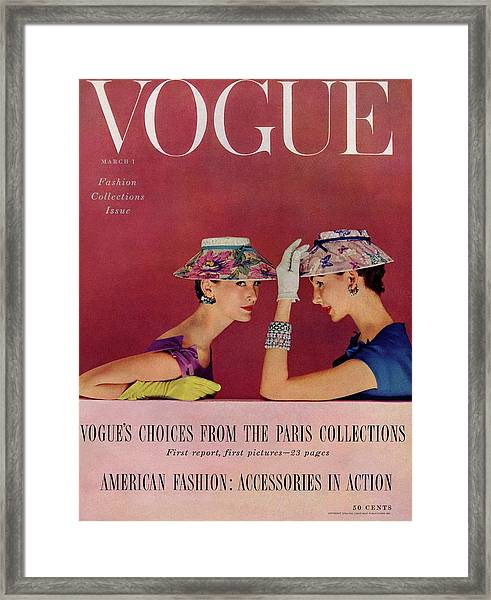 A Vogue Cover Of Models Wearing Lilly Dache Hats Framed Print