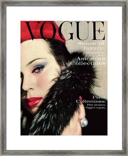 A Vogue Cover Of Morris Wearing A Fur Collar Framed Print