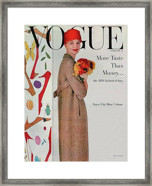 A Vogue Cover Of Sunny Harnett With Flowers Framed Print