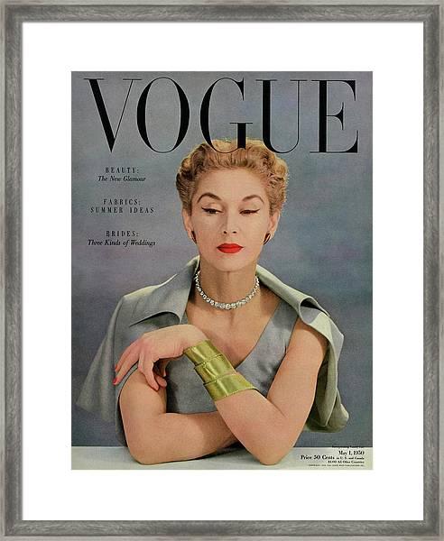 A Vogue Magazine Cover Of Lisa Fonssagrives Framed Print